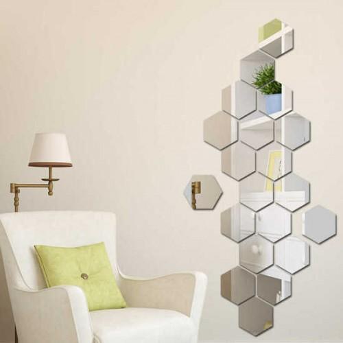 Зеркальное панно в гостиную из шестигранников