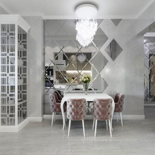 Зеркальное панно на кухню ромбы